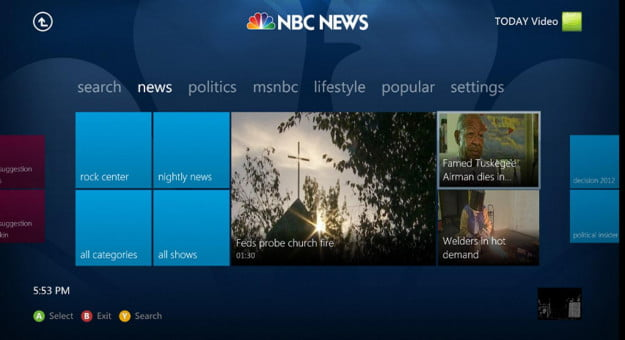 Screenshot of the NBC News app for Microsoft Xbox 360