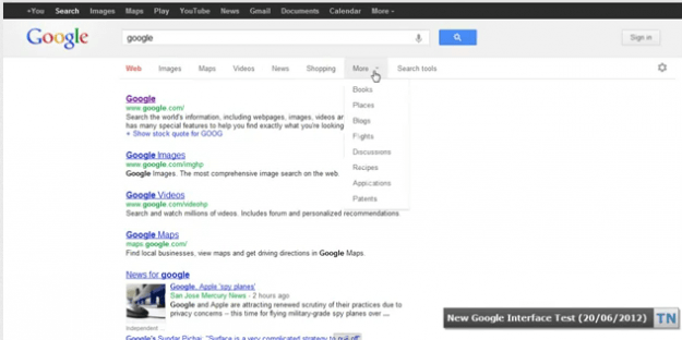 google search interface upgrade