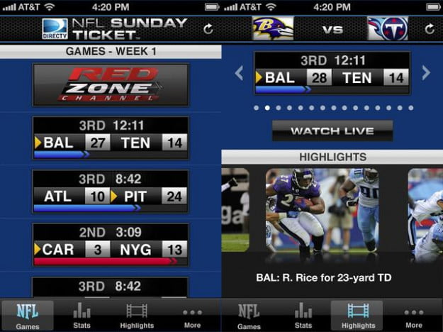 nfl sunday ticket screenshot football app