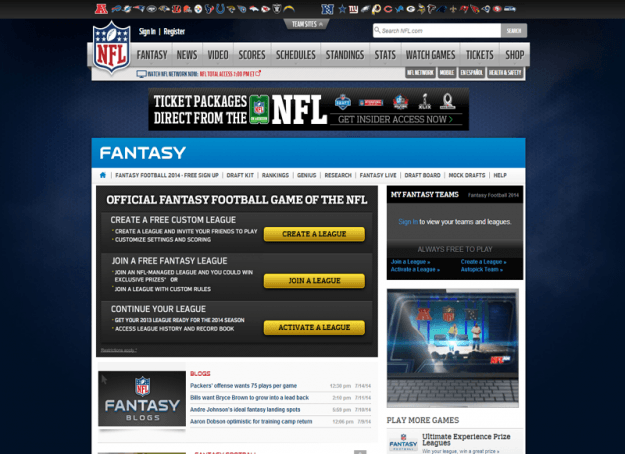 NFL Fantasy Football Homepage