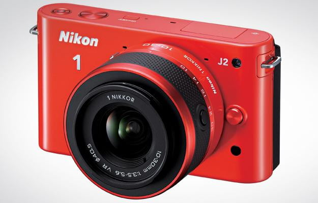 nikon j2 red front mirrorless camera