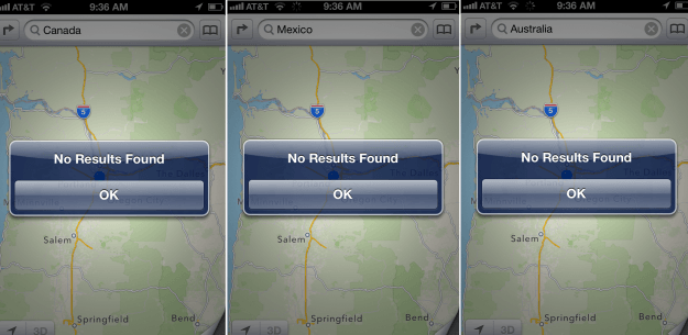 apple maps no results found