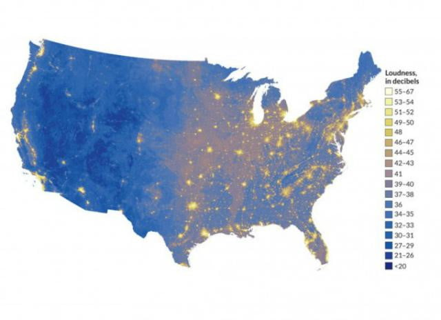 a map shows the loudest and quietest parts of u s noisiest us
