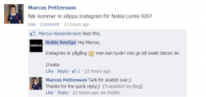 Nokia FB Sweden on instagram launch to windows phone