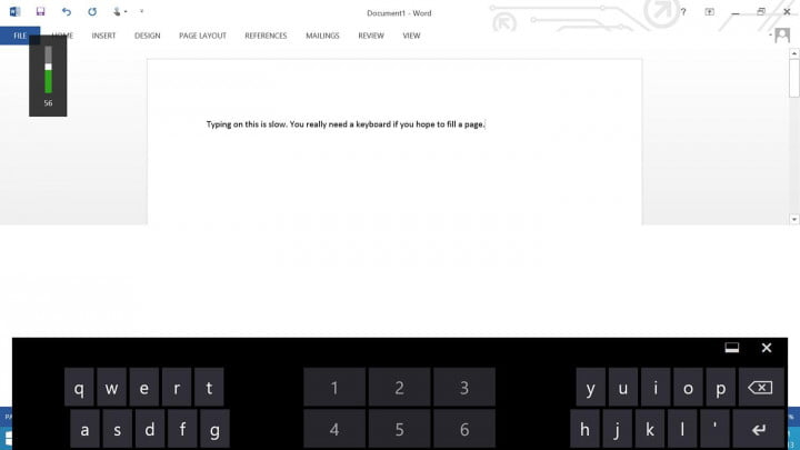Nokia Lumia 2520 Screenshot Word keyboard