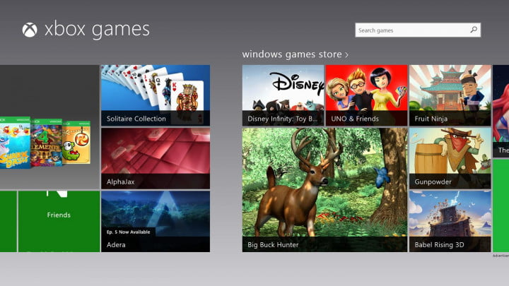 Nokia Lumia 2520 Screenshot XBox Games