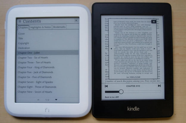 Nook vs Kindle Page Preview