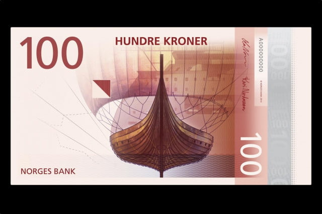 The front design for a future series of banknotes in Norway features a more traditional drawing.