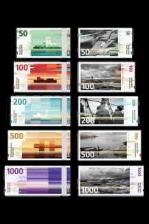 Snohetta's original submission uses photos for the front and a complementing pixel motif on the back. Norges Bank rejected the front design, but chose the pixel motif.
