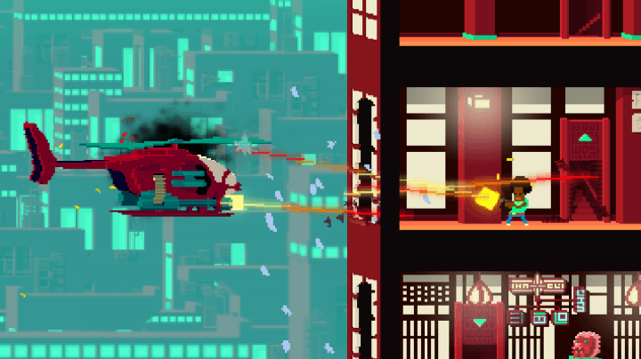 here are three game jam darlings that get to go big with devolver digital not a hero  screen