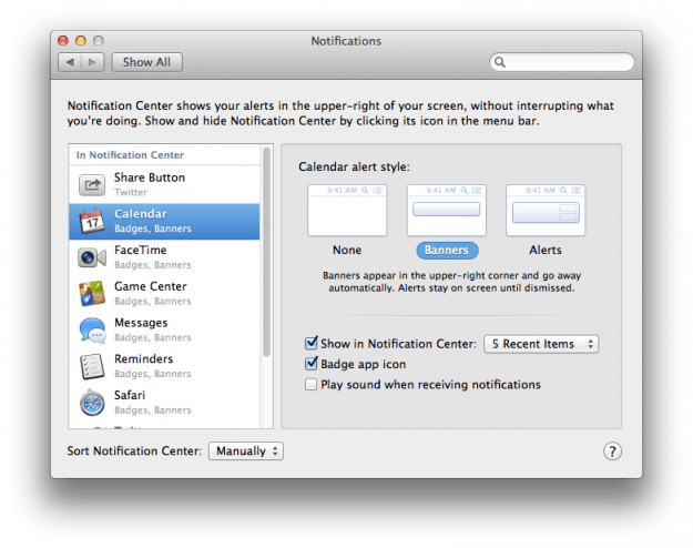 OS X Mountain Lion Notification preferences