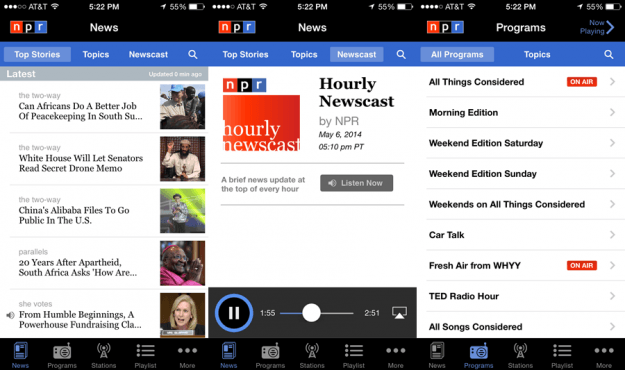 NPR News App Screens
