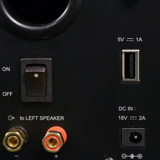 nuforce s3_bt bluetooth bookshelf speakers right channel rear ports inputs and controls macro
