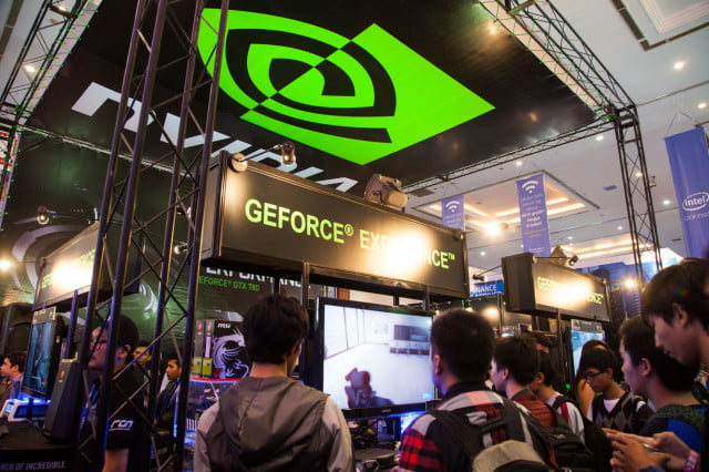 nvidia gp  die booth sign building headquarters convention group