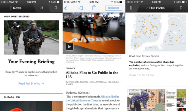 NY Times Now App Screens