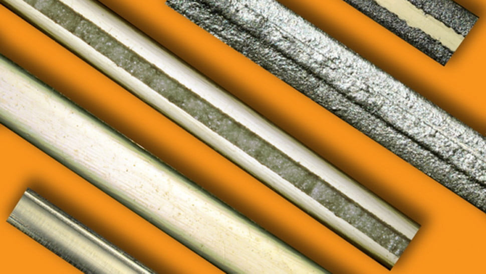 The stages of the nylon filaments fabrication process, from left to right.