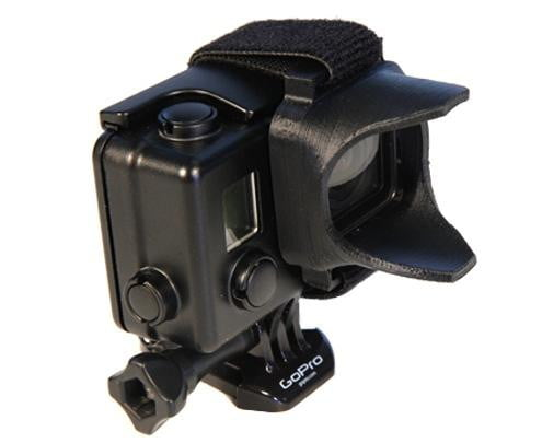 The ELH3+3 attaches to the GoPro Hero3/3+ protective casing with a velcro strap.