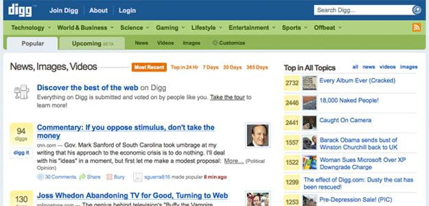 old digg screenshot social news