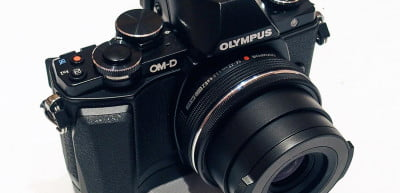 Olympus OM D E M10 front angle lens extended
