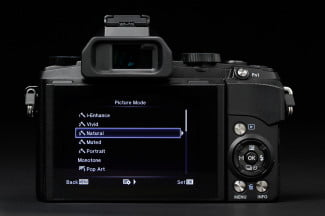 Olympus Stylus 1 rear display Picture Mode