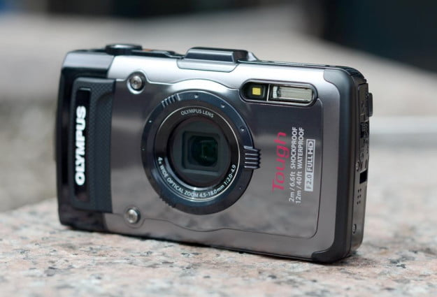 Olympus Tough TG 1 iHS Review digital camera front angle tough point and shoot