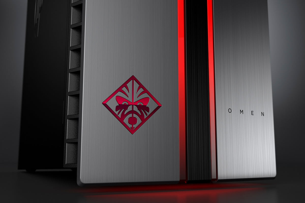 hp omen update by desktop pc with dragon red led logo detail