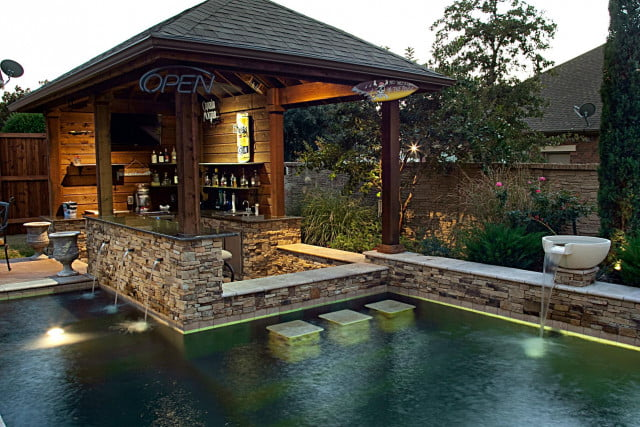 Water you having these home pools feature swim up bars for Pool design swim up bar