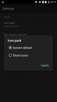 OnePlus 2 Icon Pack Settings Screen