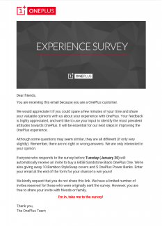 OnePlus survey