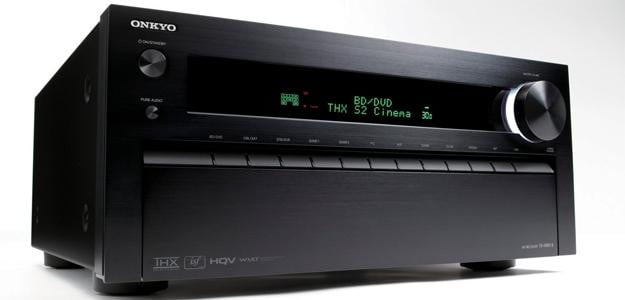 OnkyoTXNR818 front angle embed av receiver