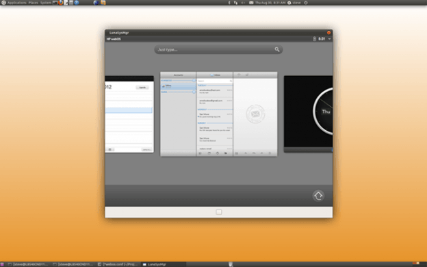 Open webOS beta running in Ubuntu