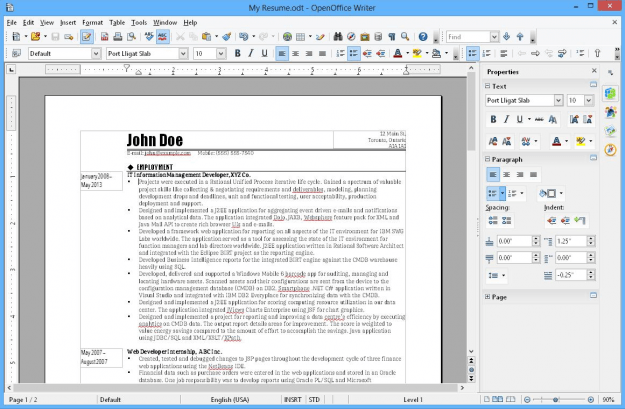OpenOffice Screen