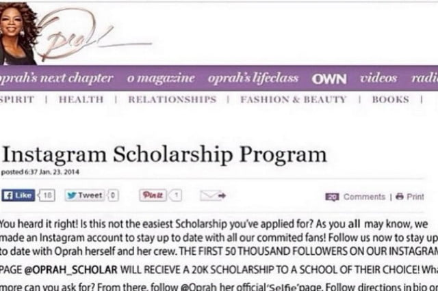 instagram hoax oprah giving scholarships based scam