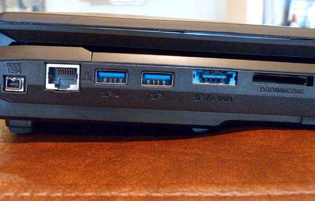The Origin Eon 17-S is equipped with two USB 3.0 ports, a media card reader, and standard ethernet.