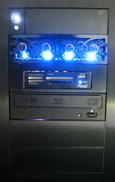 Origin Genesis case front blue lights