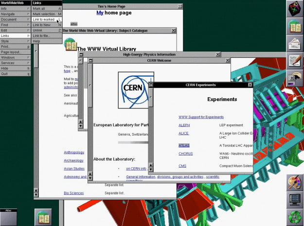 original NeXT web browser in 199