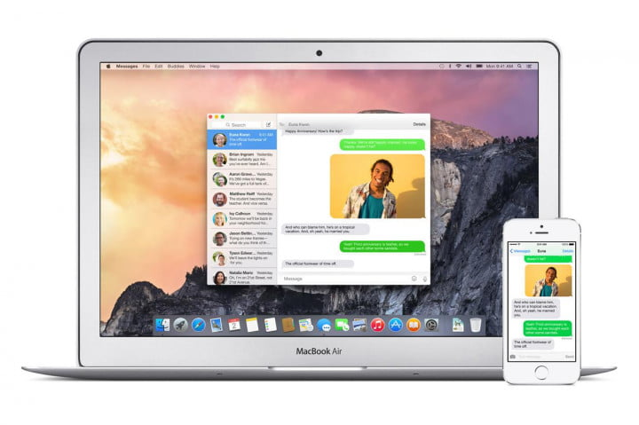 os x yosemite desktop phone sms