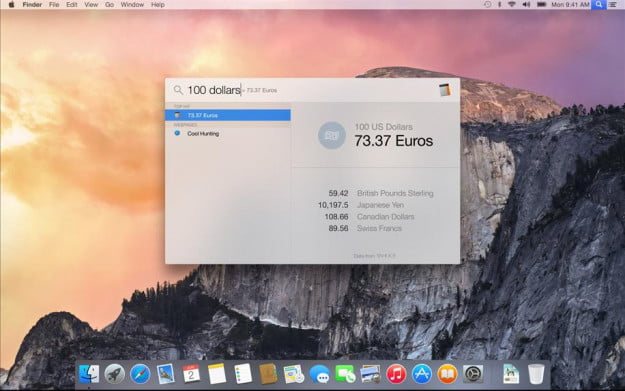 OS X yosemite spotlight conversion