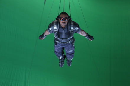 Captain America: The Winter Soldier required innovative digital face-mapping techniques to create the effect of the character Falcon flying, without losing detailed facial expressions that were essential to the scene.