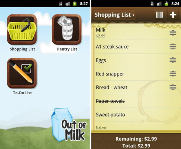 Out-Of-Milk-android-app