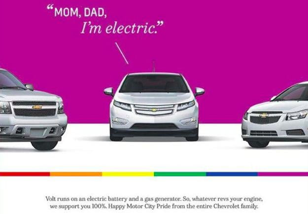Out of the closet: Chevy Volt gay pride ad targets LBGT community