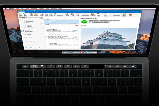 microsoft adds touch bar and add in support to outlook  for mac