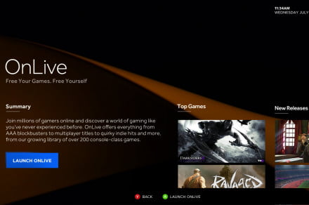 ouya onlive home screen