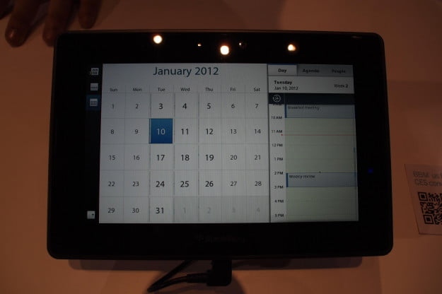 BlackBerry PlayBook 2.0 calendar app