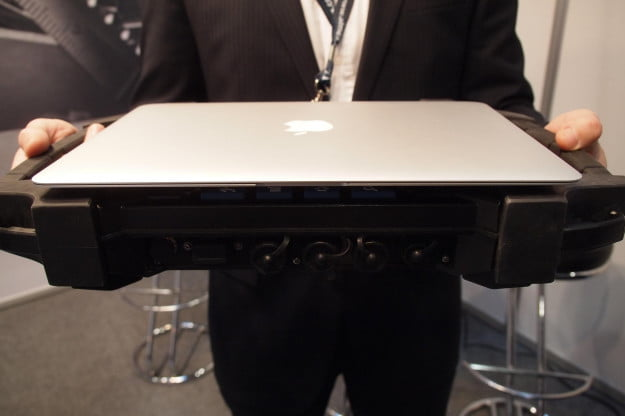 This is how big the AlmexPad is compared to a MacBook.