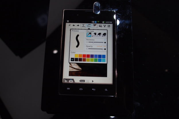 LG Optimus Vu stylus software