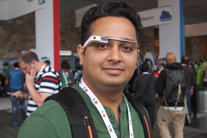 Google Glass wearer Tejas