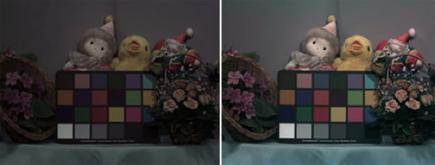 In this sample image from Panasonic, the left photo shows a CCD sensor using the conventional method. The photo on the right shows an image taken with the same CCD sensor but using the micro color splitter.