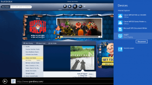 Pandora playing to Aris windows 8 wireless speaker