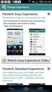 Pantech Discover Phone screen shot change experience